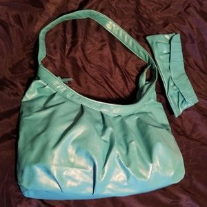 Teal-Faux Leather Hobo Purse and Wallet Set